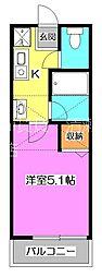 西武池袋線 清瀬駅 徒歩12分の賃貸アパート 2階1Kの間取り