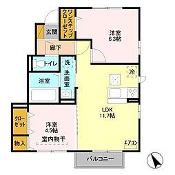 埼玉県鴻巣市広田の賃貸アパートの間取り