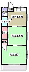 広島電鉄1系統 皆実町六丁目駅 徒歩2分の賃貸マンション 1階1DKの間取り