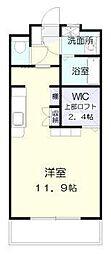 ラフィーネ桜館 2階ワンルームの間取り