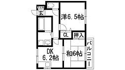 兵庫県宝塚市山本中2丁目の賃貸アパートの間取り