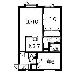 北海道札幌市豊平区月寒東二条20丁目の賃貸アパートの間取り