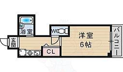 ディアコート川西弐番館 3階1Kの間取り