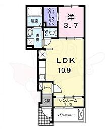 泉北高速鉄道 栂・美木多駅 徒歩32分の賃貸アパート 1階1LDKの間取り