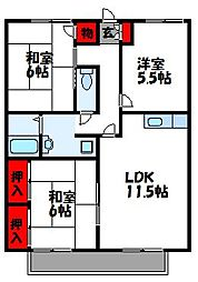 福岡県宗像市宮田2丁目の賃貸アパートの間取り