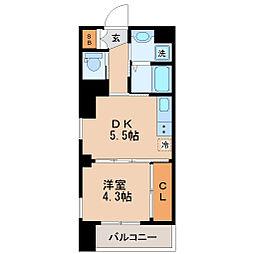 仙台市地下鉄東西線 大町西公園駅 徒歩2分の賃貸マンション 5階1DKの間取り