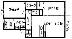 JIN/輝 B棟[2階]の間取り