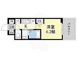 エステムコート新大阪13ニスタ 2階1Kの間取り