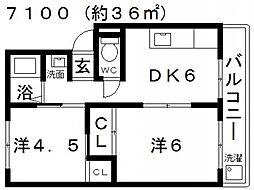 西島コーポラス[204号室号室]の間取り
