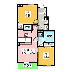 グランノワールB[1階]の間取り