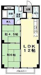 リビエラ八田[2階]の間取り
