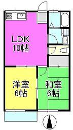リリーハウス2号棟[203号室]の間取り
