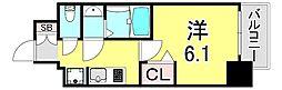 エステムコート神戸グランスタイル 13階1Kの間取り
