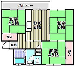 狭山住宅32号棟[3階]の間取り