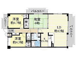 阪急千里線 南千里駅 バス12分 佐井寺北下車 徒歩5分の賃貸マンション 2階3LDKの間取り