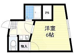 ハイツハラヤマ 2階1Kの間取り
