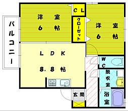 リビングタウンYOUTH C棟[2階]の間取り