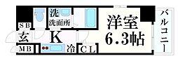 エスリード神戸レジデンス 9階1Kの間取り