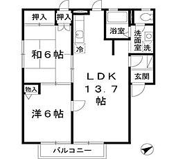 JAハイツ谷川II[1階]の間取り
