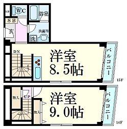 JR東海道・山陽本線 神戸駅 徒歩10分の賃貸マンション 14階1LDKの間取り
