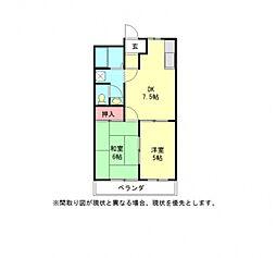 愛知県一宮市開明字杁西郭の賃貸アパートの間取り