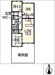 サンマンション東山元町B-102[1階]の間取り