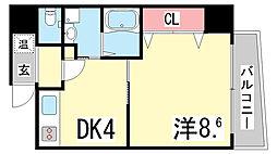 兵庫県神戸市中央区旭通1丁目の賃貸マンションの間取り