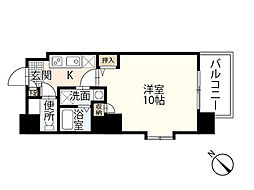 JR山陽本線 広島駅 徒歩24分の賃貸マンション 2階1Kの間取り