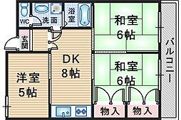 第2ユーロハイツ東豊中[203号室]の間取り
