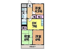 愛媛県松山市北土居2丁目の賃貸マンションの間取り