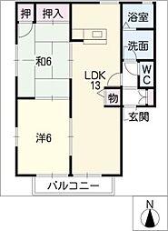 ゴユーウエストA,B[1階]の間取り