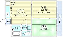仙台市営南北線 長町一丁目駅 徒歩4分の賃貸マンション 2階2LDKの間取り