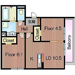 フォレノワール[2階]の間取り
