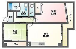 インテグレート東田辺[5階]の間取り