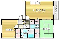 サンビューラ津之江A棟[3階]の間取り