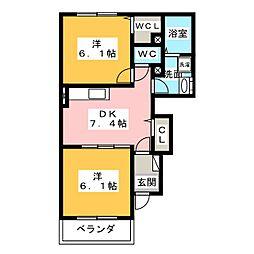 ラ・レセンテB[1階]の間取り