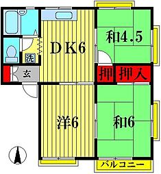 グリーンハイツオカダ D[2階]の間取り