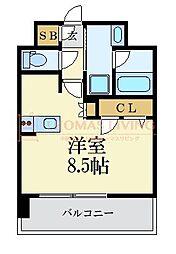 LANDIC 美野島3丁目 12階ワンルームの間取り