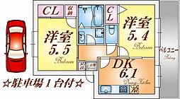 兵庫県神戸市北区南五葉4丁目の賃貸アパートの間取り