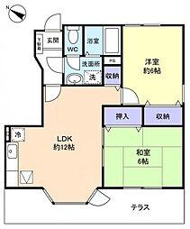 千葉県船橋市三咲2丁目の賃貸アパートの間取り