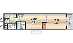 サニーパレス京橋 5階1DKの間取り