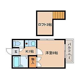 静岡県静岡市葵区古庄の賃貸アパートの間取り