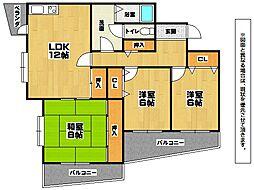 福岡県北九州市小倉北区黒原2丁目の賃貸マンションの間取り