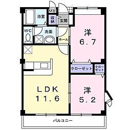 ノイブランシュ・KM[2階]の間取り