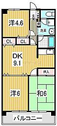 清水山第2パークハイツ[03040号室]の間取り