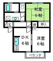 コーポ田村[101号室]の間取り