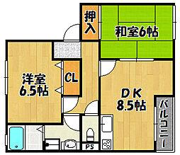 JR山陽本線 西明石駅 バス15分 王塚台東口下車 徒歩3分の賃貸アパート 1階2DKの間取り