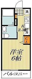 APEX平井 1階ワンルームの間取り
