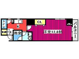 KDX定禅寺通レジデンス 2階1Kの間取り