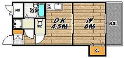大阪府大阪市東淀川区豊里7丁目の賃貸マンションの間取り